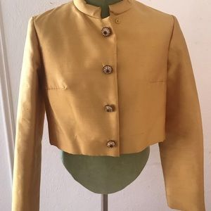 Canary yellow cropped vintage coat
